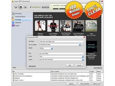 Super Mp3 Download menu