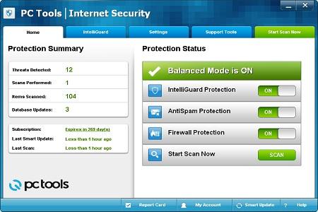 PC Tools Internet Security 2012 menu