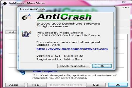 Anti crash menu