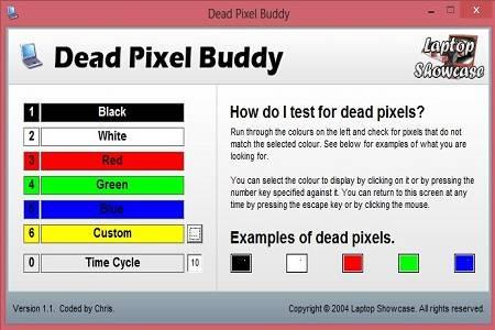 Dead Pixel Buddy Menu
