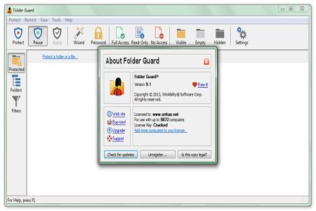 Folder Guard 9.1 Menu
