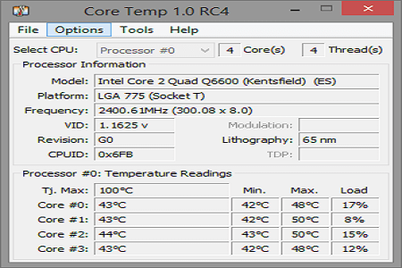 Core Temp Menu