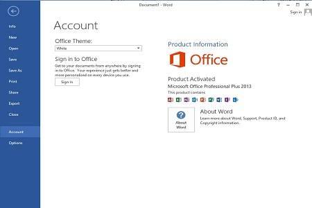 Office 2013 Menu