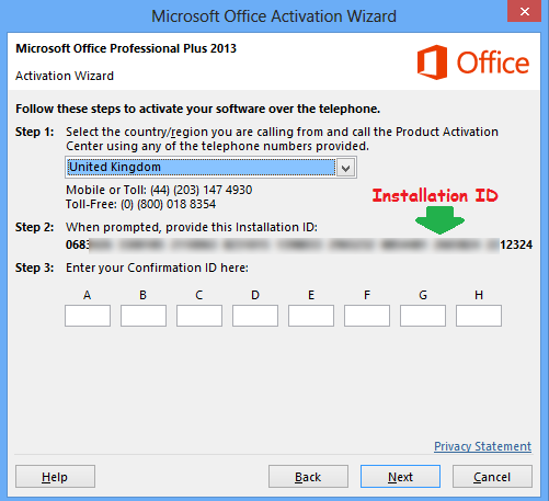 microsoft office professional plus 2010 activation confirmation id