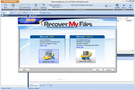 Recover My Files Menu
