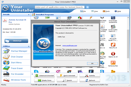 Your Uninstaller Pro 7.5.2013 Menu