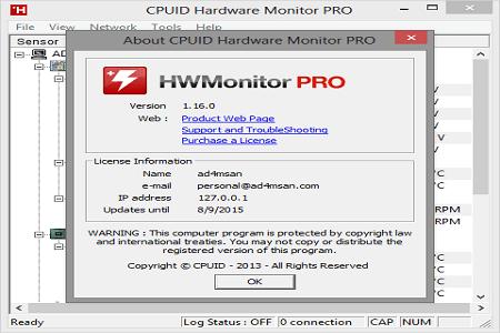 CPUID HWMonitor Pro 1.16 Main