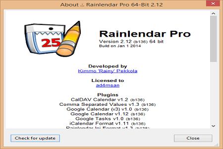 Rainlendar pro 2.12 Menu
