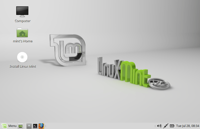 Tampilan Desktop Linux Mint Mate Edition