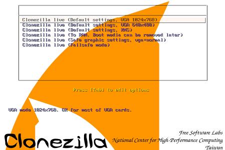 Clonezilla Menu