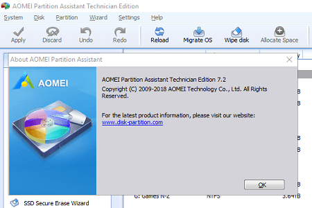 Aomei Partition Technician 7.2 Menu