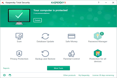 Kaspersky Total Security 2019 Menu