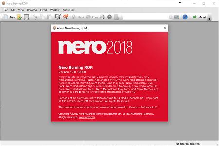 Nero 2018 Menu