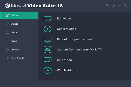 Movavi Video Suite 18 Menu