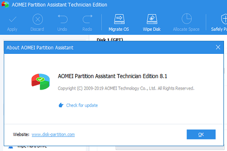 Aomei Partition Technician 8.1