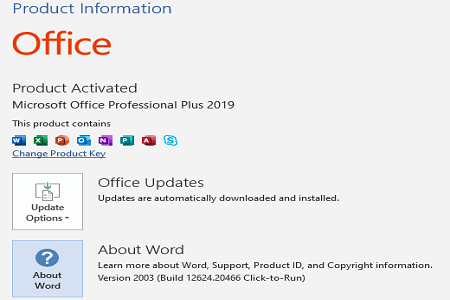 Office 2019 April 2020 Menu