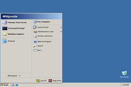 Windows Server 2003 Menu